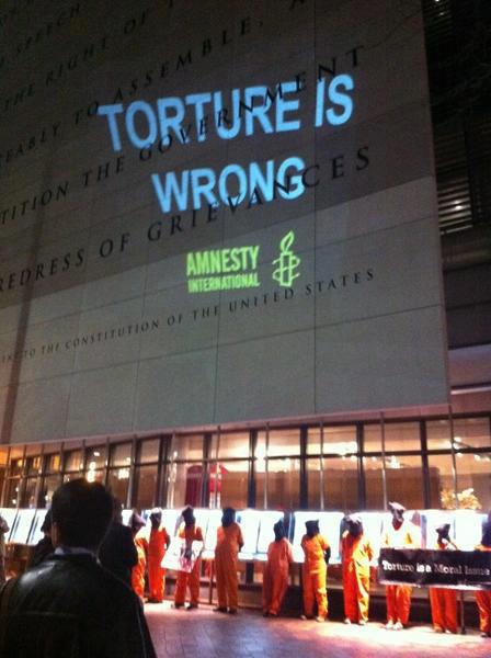 This photo was taken a few days ago in Washington DC of a protest by Amnesty International and Witness Against Torture activists outside the opening of the Zero Dark Thirty film at the Newseum.