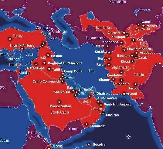 Via Lew Rockwell A Map Of U S Military Bases In The Middle East