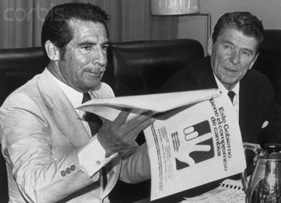 War criminal Rios Montt with his pal, Ronald Reagan.