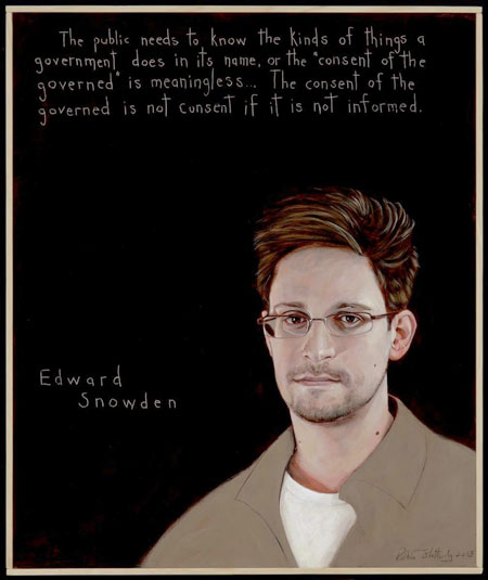 Portrait of NSA whistleblower Edward Snowden. Click for expanded image. (Painted by Robert Shetterly for his Americans Who Tell The Truth Project)